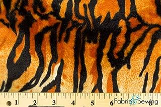 Orange Tiger Print Velboa Plush Faux Fake Fur Fabric Polyester 14 oz 58-60