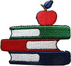 Spk Art Embroidery Iron On Books and Apple Applique Patch, Sew on Patches Badge DIY Craft