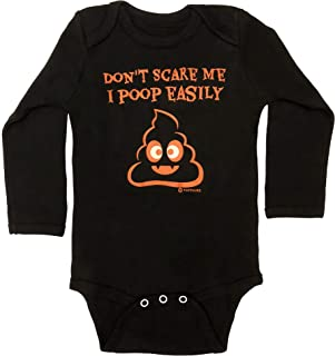 Halloween Costume Baby Bodysuit | Adorable Infant Onesie for Boys & Girls | Don't Scare Me I Poop Easily | NB-12M