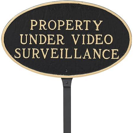 Black with Gold Letter Montague Metal Products Property Under Video Surveillance Statement Plaque 6 x 10