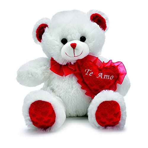 """WHITE TEDDY BEAR 6/"""" Te Amo"""" Heart With Clear box /& Red rose