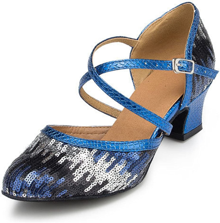 Minishion Women's TH135 Sequin Cross Strap Pleather Wedding Ballroom Latin Taogo Dance Pumps Shoes