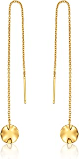 925 Sterling Silver Long Line Dangle Drop Hanging Circle Threader Earrings, 14K Yellow Gold Plated
