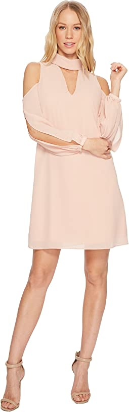 Chiffon V-Neck Float with Collar and Cold Shoulder Sleeve