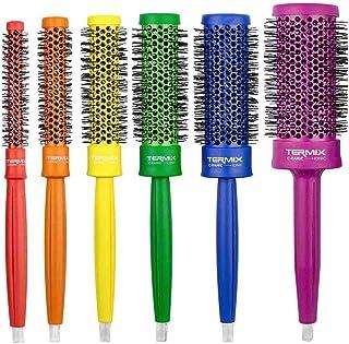Termix C·Ramic Pride - Pack de 6 cepillos de pelo térmicos redondos de cerámica con fibras ionizadas. Incluido neceser de cuero Pride. Inspirados en la diversidad y libertad de la bandera LGTBI.