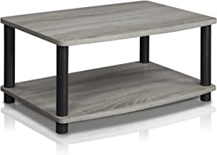 $21 » Furinno 13191GYW/BK Turn-N-Tube 2-Tier Elevated TV Stands, French Oak Grey/Black