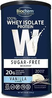 Biochem 100% Whey Sugar Free Protein, Vanilla, 11.8 Ounce, Post Workout & Energy Support, Keto Friendly