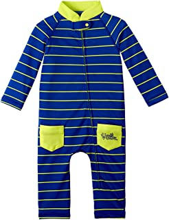 UV SKINZ UPF50+ Baby Boy Sun & Swim Suit-Navy Blue Fun Stripe