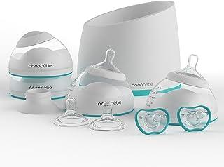 nanobebe Bottle Newborn Feeding Starter Set, Anti Colic, Preserves BreastMilkNutrients,Breastfed Baby Bottles Set Includes Smart Warmer (ttpm Award Winner)