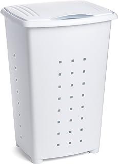 Tatay Millenium Cesto para Ropa Sucia con Tapa 60 l de Capacidad plástico Polipropileno, Blanco, 43 x 35,5 x 64 cm