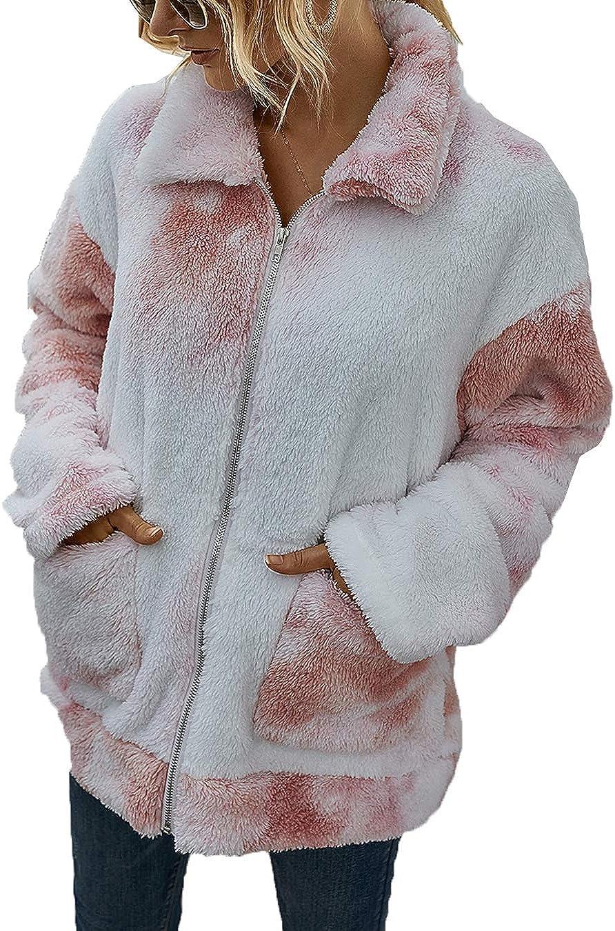 Women Fuzzy Jacket Casual Sherpa Coat Tie Dye Winter Fluffy Faux Fur Outwear
