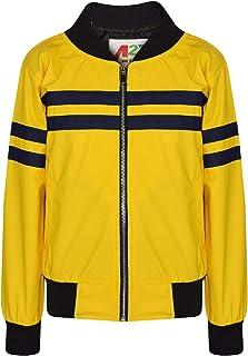 Kids Girls Jackets Contrast Striped Mustard PU Bomber Varsity School Bikers Coat