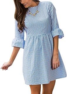 Vestido corto de rayas con cuello redondo, vestido suelto de verano, 3 cuartos flare manga, suelta vestido casual para mujer