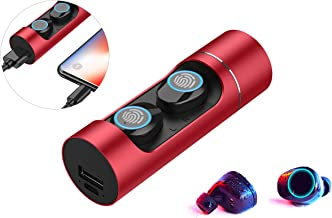 JOMAY Ture Wireless Earbuds Bluetooth 5.0 Headset with 32H Playtime Hi-Fi Stereo Sound and 1000mh Charging Case for Red,Touch Control Operation,Auto Pairing Headphones with Built-in Microphones