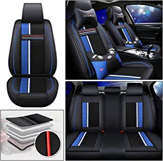 DBL 5 Seat Cartoon Leather Car Seat Cover Full Set Fit for Subaru Outback Forester XV Levorg WRX BRZ Impreza Legacy Crosstrek Accessories with Neck Pillow & Back Cushion Type E Black & Blue