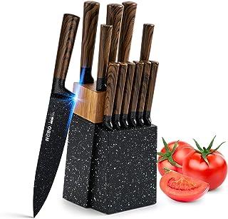Ensemble Couteaux Cuisine HOBO 12 Pièces avec Bloc en Bois, Acier Inoxydable Allemand, Couteau de Chef, Couteau à pain, Co...