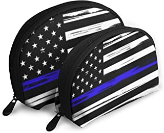 Us Flag Dedicated To Police Officers Shell Shape Portable Bags Clutch Pouch Coin Purse Cosmetic Bag Unisex Travel Storage Baging Multifunction Child Wallet Key Case Handbag 2 Pcs