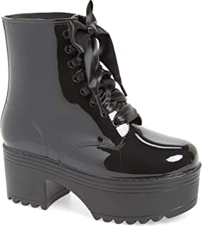 Jeffrey Campbell Fog Waterproof Boot Lace Up Chunky Platform Ankle Rain Boot