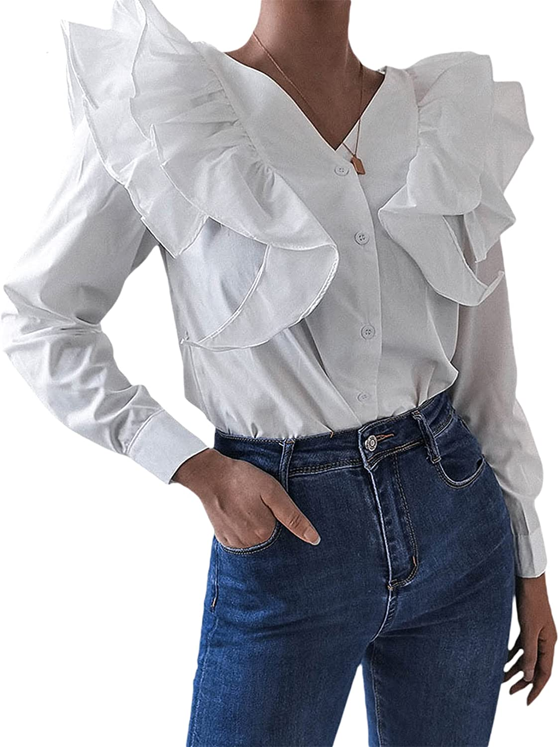 Women's Ruffle New Orleans Mall V Neck Long specialty shop Shirts Sleeve Button-Down Casual Tee