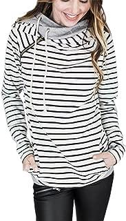 Asymmetric Asymmetrical Hooded Hood Hoodie Striped Stripe Colorblock Cotton Sweatshirt Top Side Zip Closure