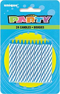 Striped Blue Birthday Candles, 24ct