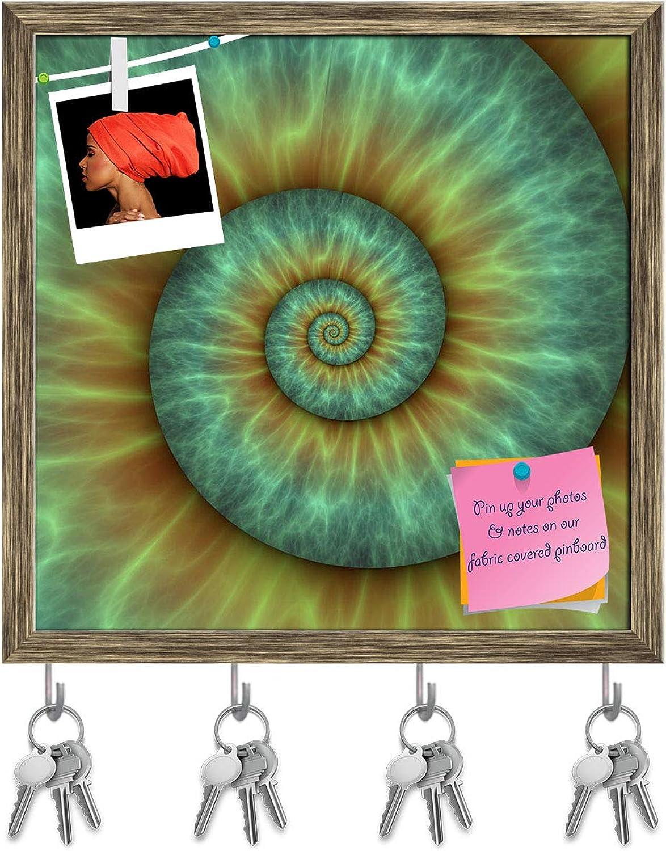 Artzfolio Abstract Spiral Pattern Key Holder Hooks   Notice Pin Board   Antique golden Frame 20 X 20Inch