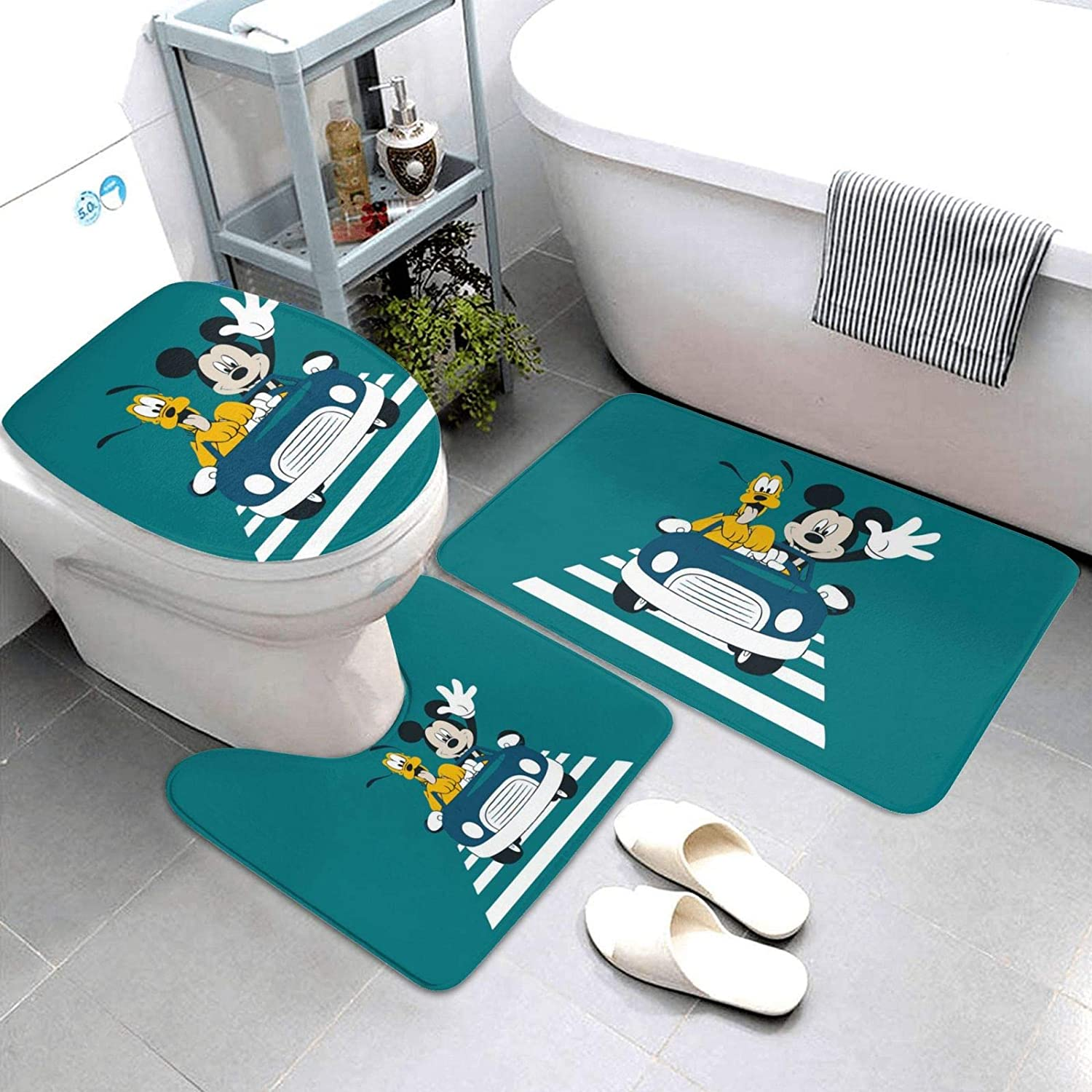 Kshgzh latest Mickey Mouse Donald Duck Driving Bathroom Piece Set Rug 3 Surprise price