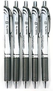 Pentel EnerGel Deluxe RTX Retractable Liquid Gel Pen,0.5mm, Fine Line, Needle Tip, Black Ink-Value set of 5