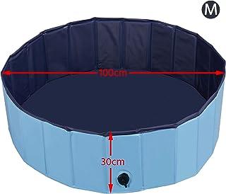 Yaheetech Piscina para Perros Banera Plegable Mascota Piscina de Bano Ducha Diferentes Tamanos M-L-XL-XXL Azul M : 100 x 30 cm