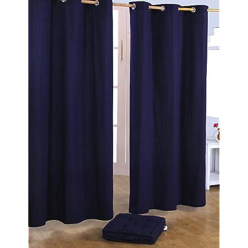 HOMESCAPES – Paire de Rideaux à œillets Prêt-à-Poser – Uni Bleu Marine – 100% Coton – 117 x 137 cm