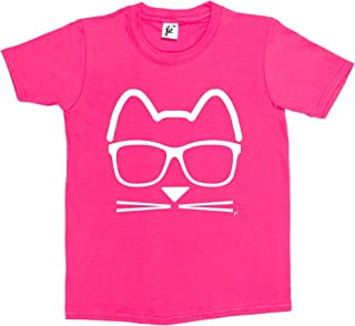 Fancy A Snuggle Funky Hipster Cat Wearing Glasses with Whiskers Kids Girls T-Shirt