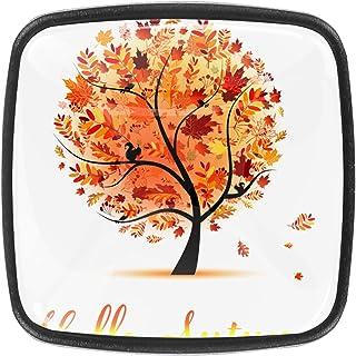 Paquet de 4 boutons d'armoire de cuisine, boutons pour tiroirs de commode Bonjour automne beau arbre Tire les poignées de ...