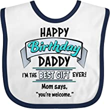 Inktastic Happy Birthday, Daddy- Best Gift Ever in Blue Baby Bib White/Navy