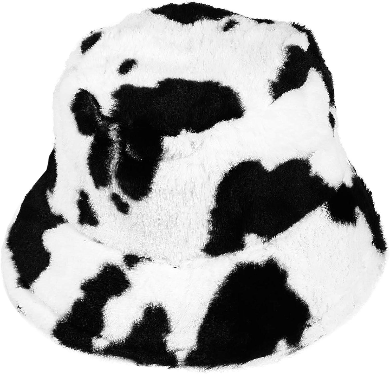 Chapéu de pelúcia de poliéster com estampa de vaca, da Kesyoo