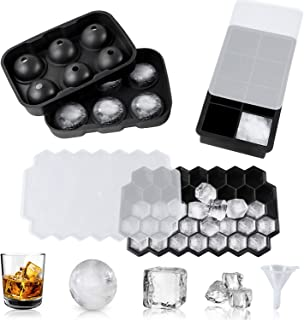 WHDZ 3 Pack Ice Cube Trays with Lids, Silicone Sphere Square Honeycomb Ice Cube Mold with Funnel, for Cocktails, Whiskey a...
