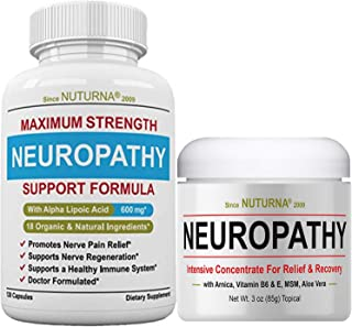 Neuropathy Support Pack... Neuropathy Support Supplement with 600 mg Alpha Lipoic Acid PLUS Neuropathy Nerve Pain Relief C...