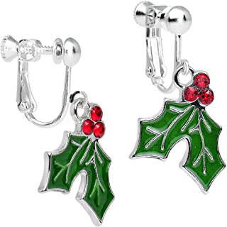 Silver Plated Green Holiday Holly Clip On Earrings Created with Swarovski Crystals 1