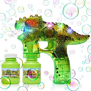 Dinosaur Bubble Gun Bubble Blower with LED Flashing Lights and Music, Dinosaur Bubble Toy for 1 2 3 4 5 Year Old Girl and Boy