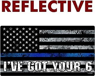 AZ House of Graphics Reflective Thin Blue Line I've Got Your 6 Flag Sticker 1 Pack