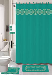 Luxury Home Collection 18 Pc Bath Rug Set Embroidery Non-Slip Bathroom Rug Mats And Rug Contour And Shower Curtain And Towels And Rings Hooks And Towels New (Teal)