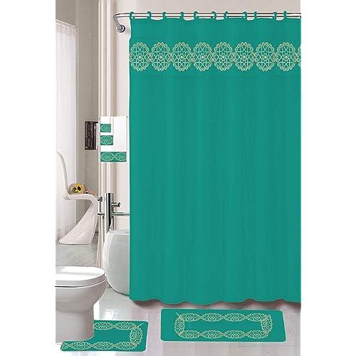 Teal Bathroom Curtains And Rug Sets Amazon Com