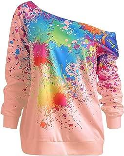 Sweatshirt,Toimoth Women Casual Loose Long Sleeve Rainbow Print Pullover Blouse Shirts