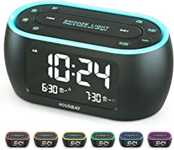 Housbay Glow Small Alarm Clock Radio for Bedrooms with 7 Color Night Light, Dual Alarm, Dimmer, USB Charger, Battery Backu...