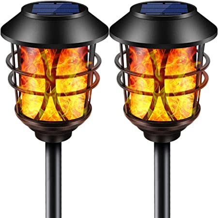 TomCare Solar Lights Metal Flickering Flame Solar Torches Lights Waterproof Outdoor Heavy Duty Lighting Solar Pathway Lights Landscape Lighting Dusk to Dawn Auto On/Off for Garden Patio Yard, 2 Pack