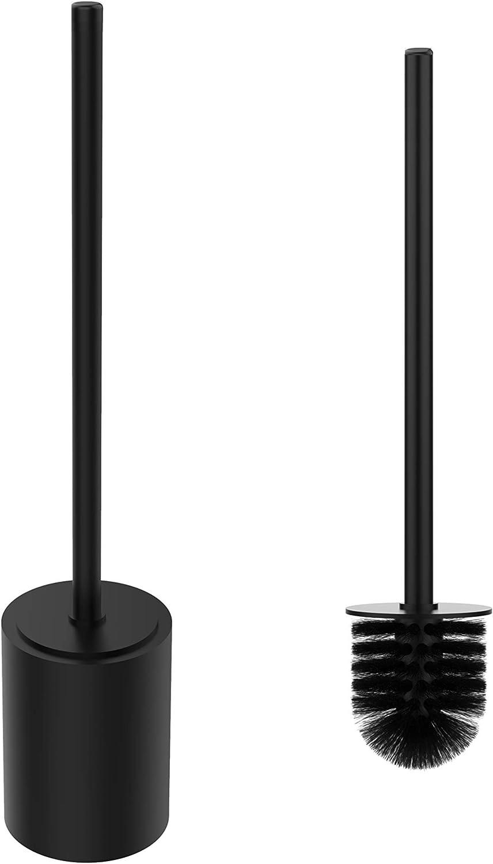 acero inoxidable, mango alargado para la espalda WC-Zepter Escobilla de ba/ño con soporte color negro mate
