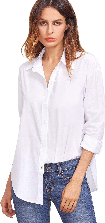 SweatyRocks Women's Long Sleeve V Neck Button Down Collar Blouse Shirt Top