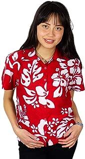Hawaiian Blouse Shirt for Women Funky Casual Button Down Very Loud Shortsleeve Unisex Hibiscus