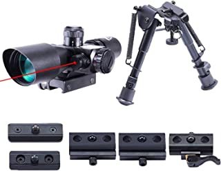 Pinty 2.5-10x40 Red Green Illuminated Mil-dot Tactical Rifle Scope with Red Laser Combo & Rifle Bipod with 6 inch to 9 inc...