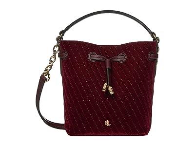 LAUREN Ralph Lauren Debby III Drawstring Mini (Bordeaux Quilted Velvet) Handbags