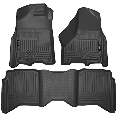 Husky Liners 99001 Black Weatherbeater Front & 2nd Seat Floor Liners Fits 2009-2018 Dodge Ram 1500 Crew Cab, 2019 Dodge Ram 1500 Classic Crew Cab, 2010-2018 Dodge Ram 2500/3500 Crew Cab